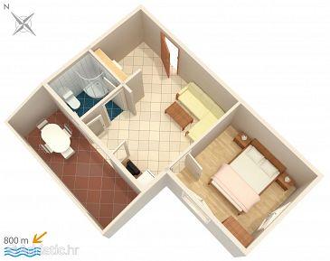 Njivice, Plan u smještaju tipa apartment, WIFI.
