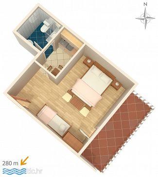 Novi Vinodolski, Plan u smještaju tipa studio-apartment, WIFI.