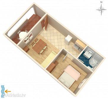 Vrsi - Mulo, Plan u smještaju tipa apartment, dopusteni kucni ljubimci i WIFI.