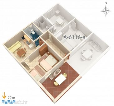 Apartment A-6116-b - Apartments Marina (Trogir) - 6116