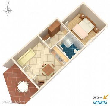 Srima - Vodice, Plan u smještaju tipa apartment, dopusteni kucni ljubimci i WIFI.