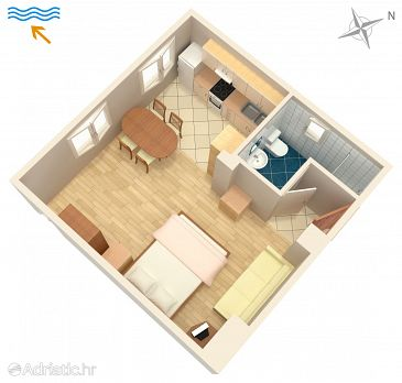 Turanj, Plan kwatery w zakwaterowaniu typu studio-apartment, WIFI.