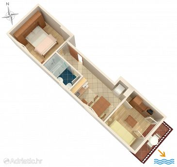 Podgora, Plan u smještaju tipa apartment, WIFI.