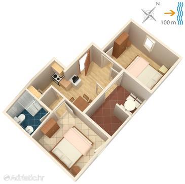 Postira, Plan u smještaju tipa apartment, WIFI.