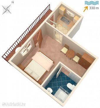 Sutivan, Plan u smještaju tipa studio-apartment, WIFI.