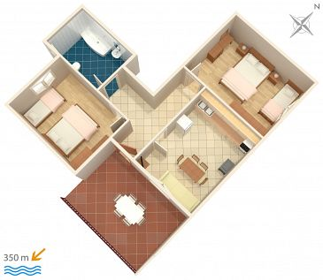 Apartament A-7482-c - Apartamenty Mali Rat (Omiš) - 7482