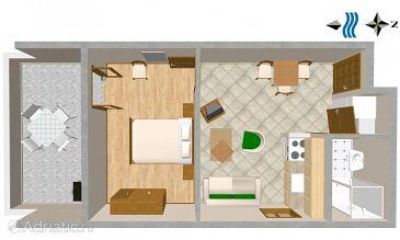 Tisno, Plan u smještaju tipa apartment, dopusteni kucni ljubimci i WIFI.