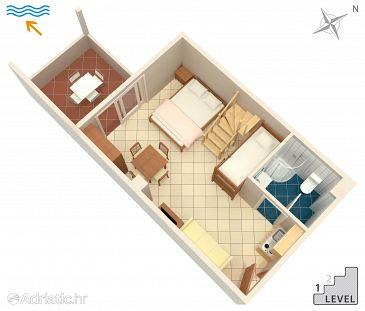 Novalja, Plan u smještaju tipa studio-apartment, WIFI.