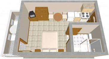 Zaklopatica, Plan u smještaju tipa studio-apartment, WIFI.